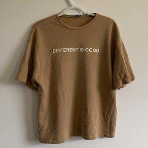 "Zara ""Different is Good"" Graphic Tee"